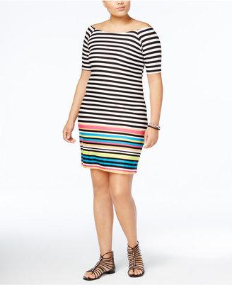 Planet Gold Trendy Plus Size Mix Striped Dress $39 thestylecure.com