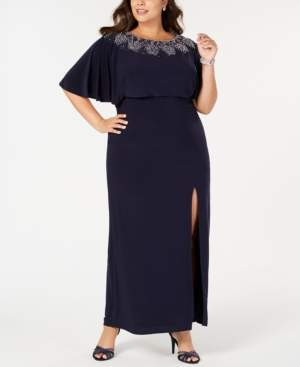 Betsy & Adam Plus Size Beaded Blouson Gown