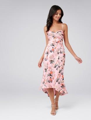Forever New Rosetta Fishtail Dress - Pink Base Print - 4