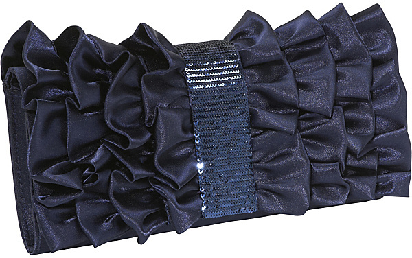 Magid Satin Ruffle and Sequin Band Clutch