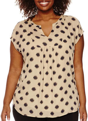 Liz Claiborne Short-Sleeve Popover Top - Plus