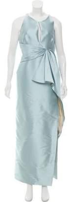 J. Mendel Pleated Eveing Dress Blue Pleated Eveing Dress