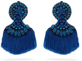 Etro Crystal Embellished Fringed Clip On Earrings - Womens - Blue