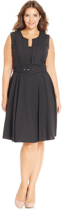 City Chic Plus Size Pleat-Front Belted Dress $89 thestylecure.com