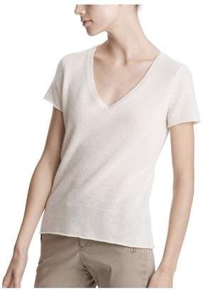 ATM Anthony Thomas Melillo Chalk Cashmere Short Sleeve V-Neck Sweater