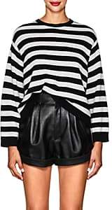 Valentino Women's Bow-Embellished Striped Cashmere Sweater - Wht.&blk.
