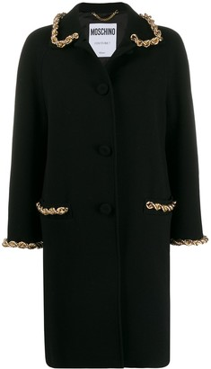 Moschino chain detail single breasted coat
