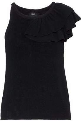 Line Estelle Asymmetric Ruffled Ribbed-Knit Top