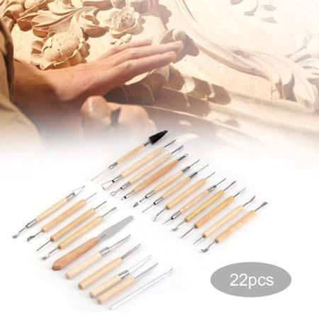 Dodomore 22pcs Wooden Handle Clay Pottery Carving DIY Sculpture Modeling Tool JR2-18