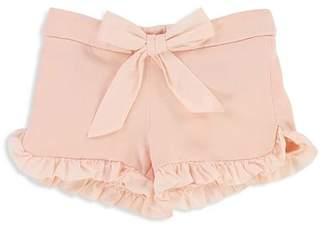 Chloé Girls' Ruffled Fleece Shorts with Bow - Baby
