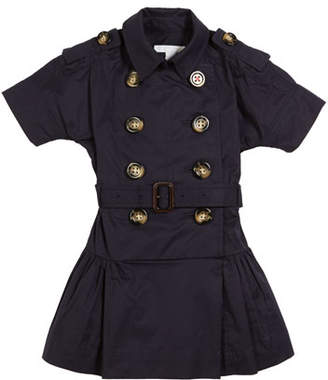 Burberry Cynthie Short-Sleeve Double-Breasted Button Dress, Size 3-14