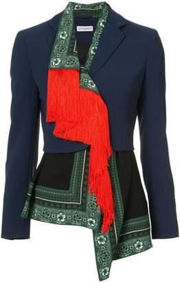 Altuzarra asymmetric printed drape and tassel blazer