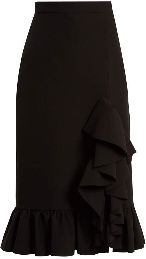 MSGM Asymmetric ruffle-trimmed stretch-crepe skirt