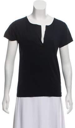 Lanvin Satin-Trimmed Short Sleeve Top