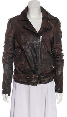 Closed Distressed Leather Jacket