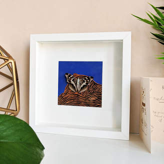 Mariposa London Framed Purple Emperor Butterfly On Lino Print Collage