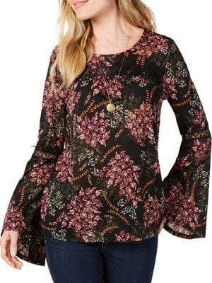 Style&Co. Style & Co. Petite Printed Lace-Trimmed Top