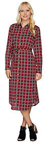C. Wonder Midi Length Lattice Print Buttn FrontShirt Dress