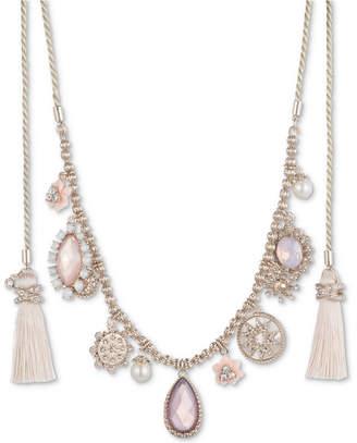 "Marchesa Gold-Tone Imitation Pearl, Stone & Pave Tassel 44"" Wrap Necklace"