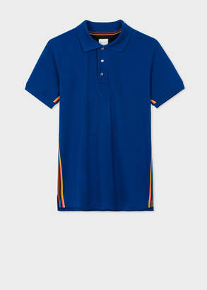Paul Smith Men's Cobalt Blue Cotton-Pique Polo Shirt With 'Artist Stripe' Webbing