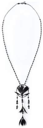 Valentino Gunmetal-Tone Feather And Beaded Necklace