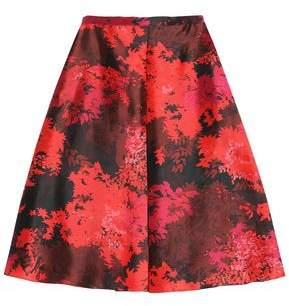Rochas Flared Printed Wool And Silk-Blend Midi Skirt