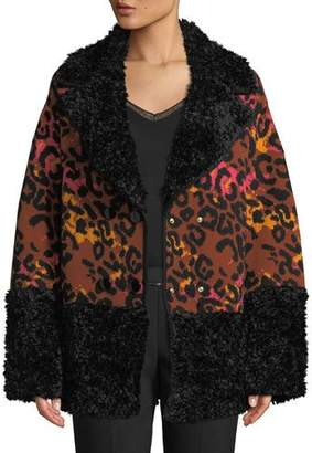 M Missoni Leopard-Print Animal Jacquard Coat