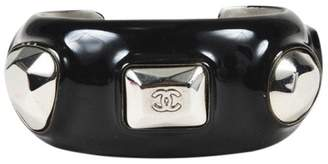 Chanel Silver Tone Hardware with Black Enamel 'CC' Open Cuff Bracelet