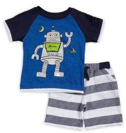 Nannette Baby Boy's Two-Piece Robot Graphic Tee and Shorts Set