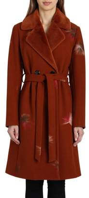 Badgley Mischka Felted Embroidery Wool Blend Coat