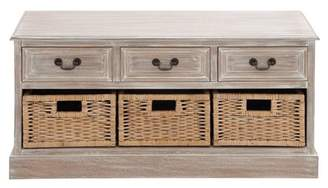 DecMode Decmode Rustic Six-Drawer Wood And Rattan Storage Low Chest