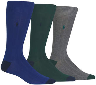 Polo Ralph Lauren Men Socks, Soft Touch Ribbed Heel Toe 3 Pack