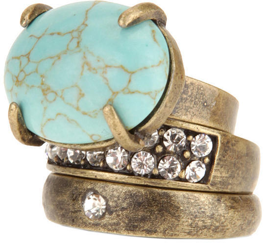 Rhinestone and Turquoise Stackable Rings