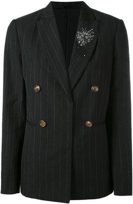 pinstripe double-breasted blazer