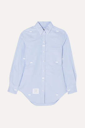 Thom Browne Bow-embellished Cotton Oxford Shirt - Light blue