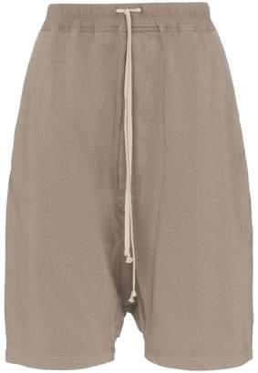 Rick Owens drawstring drop crotch cotton shorts