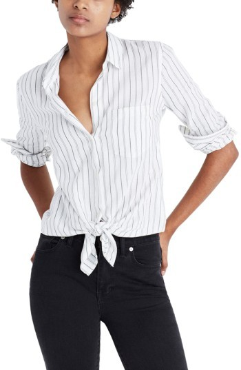 Women's Madewell Stripe Tie Front Cotton Shirt