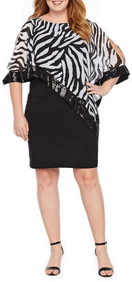 Scarlett Sleeveless Zebra Sheath Dress-Plus