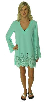 Kenneth Cole REACTION Women's Perforated Crepe Swim Cover (L, Seafoam)