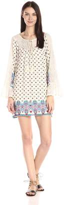 Blu Pepper Women's Boho Print Shift Dress with Lace Bell Sleeve