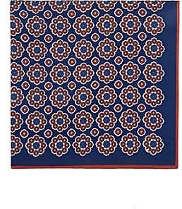 Bigi Men's Floral-Print Silk Pocket Square-Blue