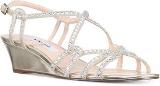 Nina Finola Strappy Rhinestone Wedge Sandals Women's Shoes