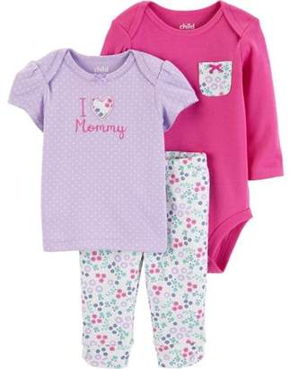 Carter's Child of Mine by Long Sleeve Bodysuit, T-Shirt & Pants, 3-Piece Outfit Set (Baby Girls)