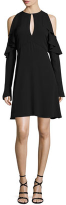 Theory Sophronia Cold-Shoulder Classic Georgette Dress $311 thestylecure.com