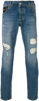 John Richmond distressed fitted jeans