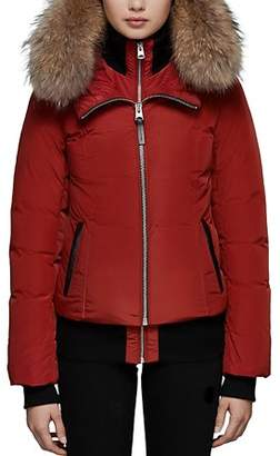 Mackage Romane Fur Trim Down Bomber Jacket