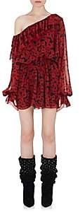 Saint Laurent Women's Ruffle Silk Off-The-Shoulder Dress-Black, Red