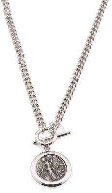 Made In Italy Rhodium Plated Bronze Oxidized Coin Necklace