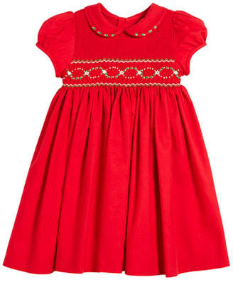 Luli & Me Half Smocked Puffy-Sleeve Bishop Dress, 2-4T