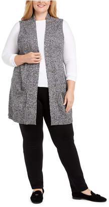 Karen Scott Plus Size Duster Sweater Vest
